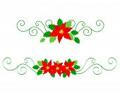 pic of poinsettia  - Collection of colorful christmas divider with red poinsettia flowers and holly leaves - JPG