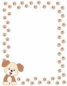 pic of dog footprint  - Brown color dog paw print border  - JPG