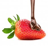 picture of strawberry  - Strawberry in chocolate isolated on white background - JPG