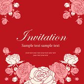 Постер, плакат: Invitation Card With Peonies