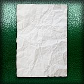 Crumpled Paper On Green Leatherette poster