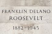 foto of plaque  - The name and date plaque on the podium of the Franklin D - JPG