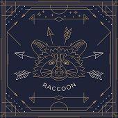 picture of raccoon  - Vintage thin line raccoon label - JPG