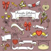 stock photo of bow arrow  - Vector Romantic Collection of Hand Drawn Design Elements - JPG