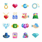 stock photo of adornment  - Precious jewels beautiful luxury accessories and adornments icons flat set isolated vector illustration - JPG