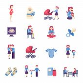 image of maternal  - Motherhood pregnancy and maternity flat icons set isolated vector illustration - JPG