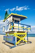 picture of lifeguard  - Colorful Lifeguard Tower in South Beach Miami Beach Florida USA - JPG