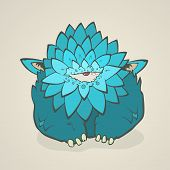 picture of claw  - Vector illustration of a cartoon blue thick monster with one eye and feathers - JPG