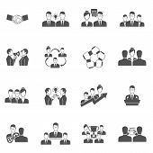 stock photo of collaboration  - Teamwork business communication management and collaboration icons black set isolated vector illustration - JPG