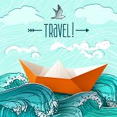 picture of ship  - Origami paper ship on hand drawn sea waves vector illustration - JPG