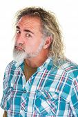 picture of insults  - Insulted grumpy mature man in flannel shirt - JPG