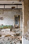 stock photo of nuclear disaster  - The interior of the Palace of Culture in the main square in Pripyat ghost town Chernobyl Nuclear Power Plant Zone of Alienation Ukraine  - JPG