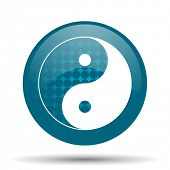 image of ying-yang  - ying yang blue glossy web icon - JPG