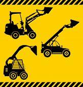 stock photo of heavy equipment  - Detailed illustration of skid steer loaders - JPG