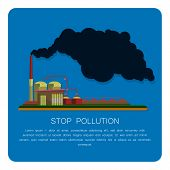 pic of environmental pollution  - Industrial factory buildings set in flat design style - JPG