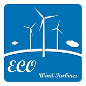 pic of turbines  - Ecology poster or flyer with wind turbines on blue background with infographics menu options - JPG