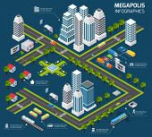 stock photo of skyscrapers  - Isometric city concept with 3d skyscraper office buildings and street transport vector illustration - JPG