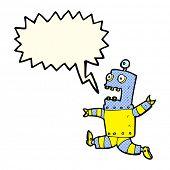 pic of terrifying  - cartoon terrified robot with speech bubble - JPG