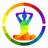 foto of tantra  - Yoga colored icon isolated over white background - JPG