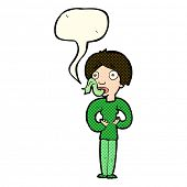 stock photo of sticking out tongue  - cartoon woman sticking out tongue with speech bubble - JPG