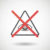 image of illuminati  - Illustration of a not allowed icon with an all seeing eye - JPG