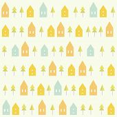 stock photo of blue spruce  - Houses and spruces pattern - JPG