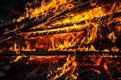 stock photo of bonfire  - A bonfire on a Midsummer Day after dark - JPG