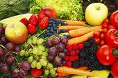 foto of fruit  - Fruits and vegetables Close up shot of different fruits and vegetables - JPG
