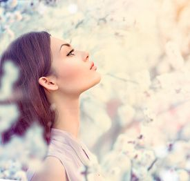 pic of orchard  - Spring fashion girl outdoor portrait in blooming trees - JPG