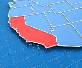 picture of usa map  - 3d render of USA map with California state highlighted in red - JPG