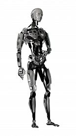 pic of cyborg  - 3D digital render of a male cyborg isolated on white background - JPG