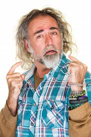 picture of snob  - Isolated arrogant bearded man in flannel shirt - JPG
