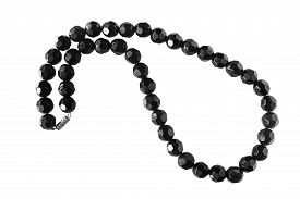 picture of agate  - String of black agate beads on white background - JPG