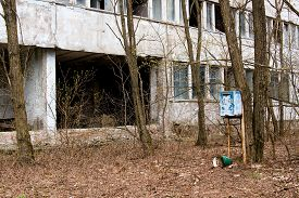 stock photo of mailbox  - Mailbox in one of the abandoned streets in Pripyat ghost town Chernobyl Nuclear Power Plant Zone of Alienation Ukraine - JPG