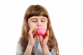 pic of girlie  - Little Girl inflate a Pink Balloon on the White Background - JPG