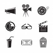 Cinema, movie icons set with -  projector, film strip, 3D glasses, clapboard, popcorn in a striped t poster