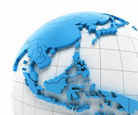 foto of southeast  - Globe of Southeast Asia with national borders - JPG