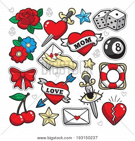 Old school fashion patch badges with heart, cherry, dagger and other  elements  Vector illustration isolated on white background  Set of  stickers,