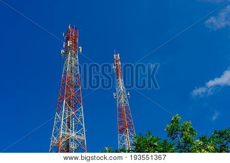 poster of Antenna tower,Telecommunications tower in the afternoon bright sunlight and cloudy blue sky
