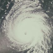 Huge Hurricane Over Pacific Ocean. Satellite Photo. poster