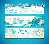 Vector Set Of Sea/ocean Horizontal Banners. poster