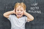 Little Boy Standing Up For Himself And Saying No To Bullying By Blowing A Raspberry At The Bully In poster