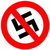 foto of stop hate  - Anti Nazi Sign that is isolated in white - JPG
