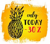 Only Today -30% Sale Banner On The Abstract Ink Background. poster
