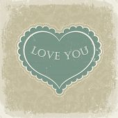 stock photo of heart shape  - Vintage gift card with heart shaped space for text in a  in beige gamut - JPG