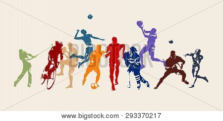 poster of Sports, Set Of Athletes Of Various Sports Disciplines. Isolated Vector Silhouettes. Run, Soccer, Hoc