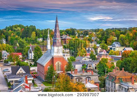 poster of Montpelier, Vermont, USA town skyline at dusk.