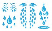 Blue Cry Cartoon Tears Icon Or Sweat Drops From Eyes poster