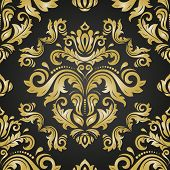 Classic Seamless Vector Pattern. Damask Orient Golden Ornament. Classic Vintage Background. Orient O poster