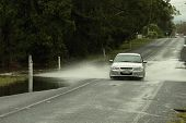 Brisbane, Australia - Jan 25 : One Year On Brisbane Flooding Again, Cars Crossing Flooded Burpengary